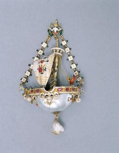 Násfa - Cupid's ship-representation. Gold, diamond, pearl, shell pearl, ruby with champleve and ronde bosse enamel. Germany circa 1600. Via Salem Lucien