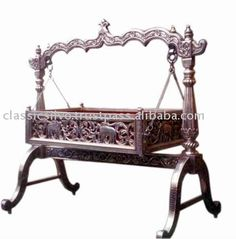 Carved teak wood baby swing cradle bed furniture in 2019