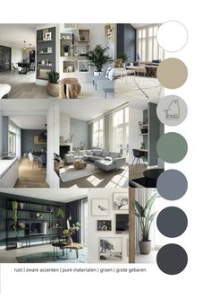 Moodboard living room - Interior advice for the living room with cool elements, gray, wood and large gestures. Best Interior Design Websites, Home Interior Design, Portfolio Design Layouts, Interior Paint Colors For Living Room, Home Living Room, Colorful Interiors, Future House, New Homes, Room Decor
