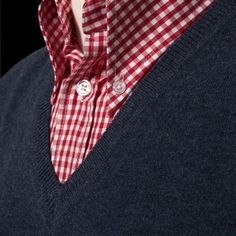 Skinhead style - v neck sweater and gingham shirt