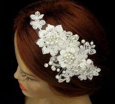 Rhinestone Pearl Beaded Lace Bridal Headband Wedding Accessories Ivory Headpiece Silvery Beaded Hair Piece #2268964 - Weddbook