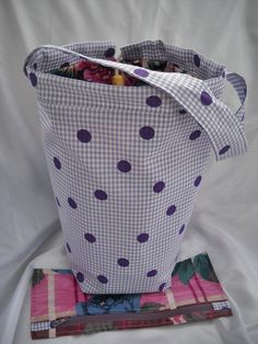 Knitting bag, sock knitters bag, zipper notions pouch, crochet tote bag, padded and lined. Handmade, Cotton, Washable