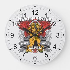 Firefighter Real Heroes Large Clock  firefighter accessories, preschool firefighter craft, baby shower firefighter #kidspiration #goals #firefightingislife Firefighter Crafts, Firefighter Humor, Firefighter Workout, Firefighter Training, Firefighter Wedding, Firefighter Pictures, Female Firefighter, 4th Of July Fireworks, July 4th