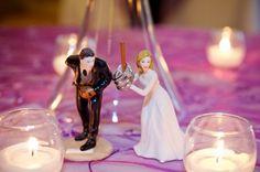 Wedding Rings on a Baseball Player Bride & Groom Cake Topper. Photo by Jessica Elizabeth Photographers (www.jessicaelizabeth.com)