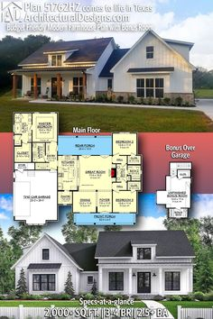 Architectural Designs – Selling quality house plans for over 40 years ArchitecturalDesi… Modern Farmhouse Home Plan client built in New House Plans, Dream House Plans, House Floor Plans, Dream Houses, Texas House Plans, The Plan, How To Plan, Future House, Rustic Living Room Furniture
