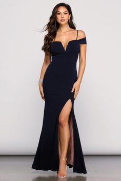 Mallory Formal Off The Shoulder Dress Front Slit Dress, High Slit Dress, Date Dresses, Dresses For Sale, Long Dresses, Prom Dresses, Off The Shoulder, Shoulder Dress, Shoulder Strap