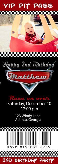 Race Cars ticket birthday invitation PRINTABLE by ChelsiLeeDesigns