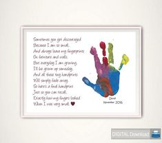 Handprint Art Gift for Mother Gift from Kids by FromTheRookery Diy Gifts For Mom, Personalized Gifts For Mom, Mothers Day Crafts For Kids, Fathers Day Crafts, Christmas Gifts For Mom, Kids Gifts, Diy For Kids, Baby Gifts, Xmas