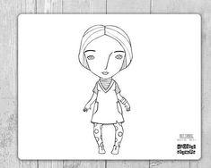 Bambola Carta Ragazza Donna. Illustrazione da Colorare