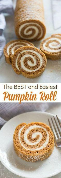 The BEST (and easiest) Pumpkin Roll! This is definitely one of my favorite easy … The BEST (and easiest) Pumpkin Roll! This is definitely one of my favorite easy pumpkin recipes! Bon Dessert, Low Carb Dessert, Oreo Dessert, Simple Dessert, Appetizer Dessert, Appetizers, Food Cakes, Fall Baking, Holiday Baking