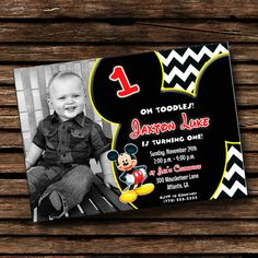 Boy's Mickey Mouse Birthday Invitation $10