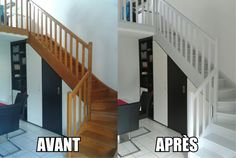 cabin stairs to loft ; Wooden Staircases, Curved Staircase, Staircase Design, Stairways, Storage Under Staircase, Loft Stairs, Interior Decorating Styles, Home Staging, Rustic Design