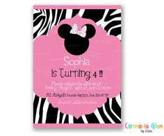 minnie mouse zebra girl printable invitation by ceremoniaGlam, $9.50