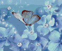 Free cross stitch chart blue butterfly