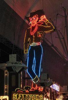 """A bit of old Las Vegas preserved on Fremont Street"" Las Vegas, Nevada photo of ""Neon Cowboy"" by IgoUgo travel photographer, BawBaw."