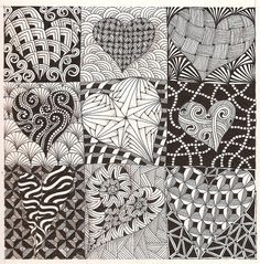 """zentangled hearts 9 squares 1 shape   I drew similar things in high school in the 1950s and my art teacher said I was just wasting time, daydreaming and needed to get """"serious"""" about creating (copying?) """"real"""" art.  Gee, wish I hadn't listened to her, but she was the teacher and I was 15."""