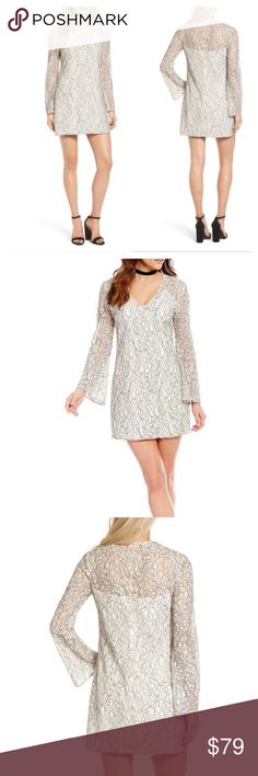 """WAYF guiltily pleasure long bell sleeve lace dress Ideal for fancy bars and apartment soirées, this lacy shift has a simple silhouette and a V-neckline. Color: ivory. Slips on over head. V-neck. Long bell sleeves. Lined. 50% cotton, 35% nylon, 15% polyester. Size S; length: 32"""", bust: 35"""". Nordstrom Dresses Mini"""