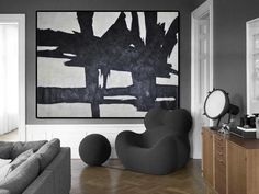 CZ Art Design - Hand painted large horizontal minimal Art, Large black and white minimalist painting with rich textured Neutral interior design decor. Large Wall Art, Large Art, Canvas Wall Art, Black And White Painting, White Art, Minimal Art, Minimalist Painting, Contemporary Abstract Art, Art Decor