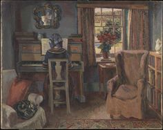 """Girl at the Piano (1940). Duncan Grant (Scottish, 1885-1978). Oil paint on canvas. Tate. Painted at Charleston; the girl is Angelica, illegitimate daughter of the artists Vanessa Bell and Duncan Grant. At the age of 24 Angelica married the writer and publisher David Garnett (known to everyone as """"Bunny""""), 50 years old and one of Grant's former lovers."""