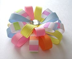 Easter Hair Bow - Pastel Stripes - Medium Flower Loop