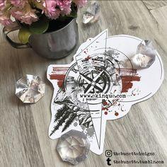 trash polka tattoo clock compass mountain tree abstract illustration landscape