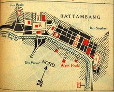 This is an old 1934 map of Battambang Battambang, Cambodia, Construction, Map, Building, Location Map, Maps