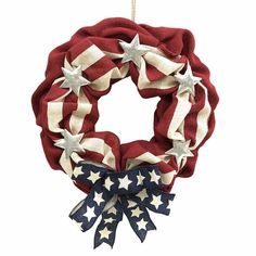 Holiday Living Decoration Red,White,Blue Indoor/Outdoor Patriotic Artificial Fourth Of July Wreath Diy Wreath, Mesh Wreaths, Holiday Wreaths, Burlap Wreath, Holiday Decor, Wreath Ideas, Holiday Parties, Holiday Ideas, Patriotic Wreath
