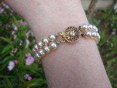 Exceptionally Lovely Faux Pearl Bracelet with Gold Vermeil Filagree Clasp - pinned by pin4etsy.com