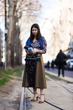 Natasha Goldenberg wearing a total Marni outfit and Valentino Club On calf-hair pumps after the Marni Fall/Winter 2015-2016 fashion show in Milan, Italy