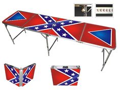 CONFEDERATE REBEL FLAG BEER PONG TABLE 8 FOOT