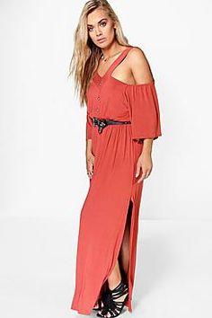 Plus Emily Button Detail Maxi Dress