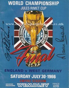 Image of the front cover of the 1966 World Cup Final Programme signed by Hurst and Peters www.universalautographs.co.uk/geoff-hurst-and-martin-peters-dual-signed-photo-10-x-8-204-p.asp