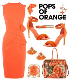 Pops Of Orange by stranjakivana on Polyvore featuring Karen Millen, Joie, Balenciaga, Christina Greene, Topshop, Louis Vuitton, Too Faced Cosmetics, orangeoutfit and popsoforange