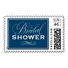 Bridal Shower Postage Stamps | Navy Blue Aqua / Pool Blue and White #navy #blue #wedding #bridal #shower #stamp