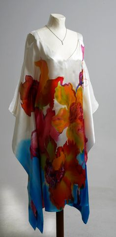 Plus size Hand Painted Natural Silk dress by AijaSilkPainting