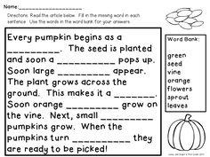 Classroom Freebies Too: Pumpkin Life Cycle
