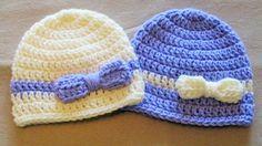 Twin Baby Girl Hat Set Crochet Newborn Hat Baby Girl Bow