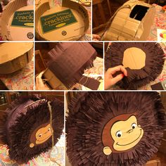 Curious George Piñata - Piñata Mono Jorge #DIY #Howto Curious George Party, Curious George Birthday, Birthday Pinata, Bear Birthday, One Year Birthday, 4th Birthday Parties, Monkey Centerpiece, Baby Cinderella, Party Planning