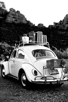 VW - this pic brings back soooo many great memories :) My parents LOADED UP our Bug with luggage and 3 girls with NO A/C we drove from NY to Texas and them on to California the summer of 1962 - awesome family trip!