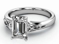 Engagement Ring - Emerald Cut Diamond Triquetra Celtic Engagement Ring in 14K White Gold - ES835ECWG