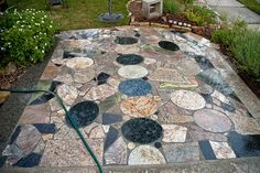 scrap-granite patio.