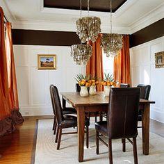 Room design orange on pinterest orange accent walls for Burnt orange dining room
