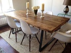 Brilliant Industrial Dining Room Table with Best Industrial Dining Chairs Ideas . Farmhouse Dining Room Table, Dining Room Table Decor, Wooden Dining Tables, Dining Table Design, Decoration Table, Rustic Farmhouse, Kitchen Dining, Rustic Wood Dining Table, Round Dining