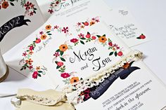Floral Wedding Invite hand painted pink and orange by BeholdDesignz, $6.15