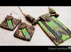 Indrani Handmade: Set de bijuterii: cercei si pandantiv cu lant lung...