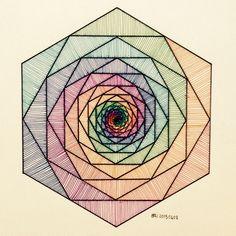 #Fractal #Fibonacci #geometry #symmetry #pattern #math #Escher #Art #warercolor #handmade
