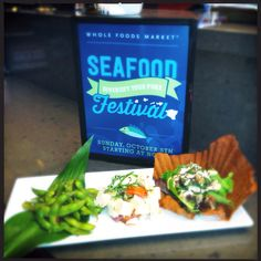 Poke-style trio.. Spicy fried ahi with sea asparagus, tofu poke & edamame poke.. Whole Foods Kailua Windward Bar.. National Seafood Month..
