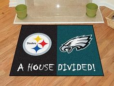 "Steelers - Eagles House Divided Rug 33.75""x42.5"""