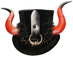 For Sale (click picture for further details): El Diablo Tall Black Top Hat Demon Horns Gothic Devil Steampunk Satan Krampus