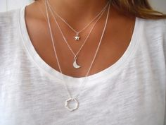 Moon And Star Silver Necklace Set. Sterling Silver by annikabella